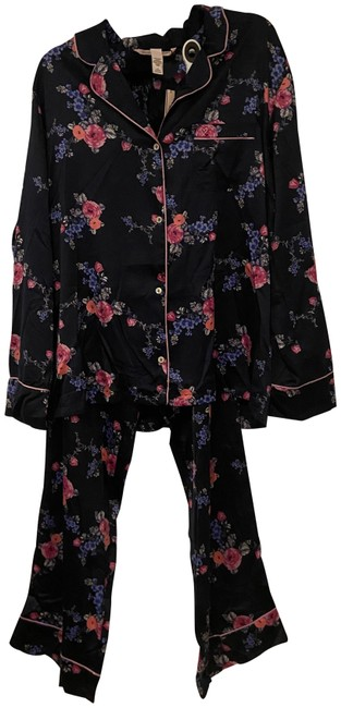 Item - Multicolored Navy Satin Floral Long Sleeve Pajama Set Button-down Top Size 12 (L)