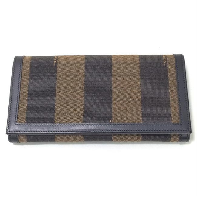 Item - Black / Brown Long Two-fold Leather Canvas Logo Pequin Pattern Ladies 702981 Wallet