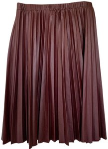 Free Press Pleated Faux Leather Vegan A-line Skirt Maroon