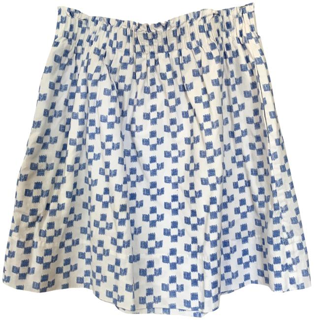 Item - White & Blue Pre-owned Ikat Shirred Crosshatch Cotton (S) Skirt Size 6 (S, 28)