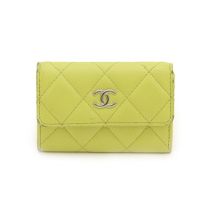 Chanel CHANEL Coin Matte Purse Coco Mark Leather Yellow Silver Hardware AP0036