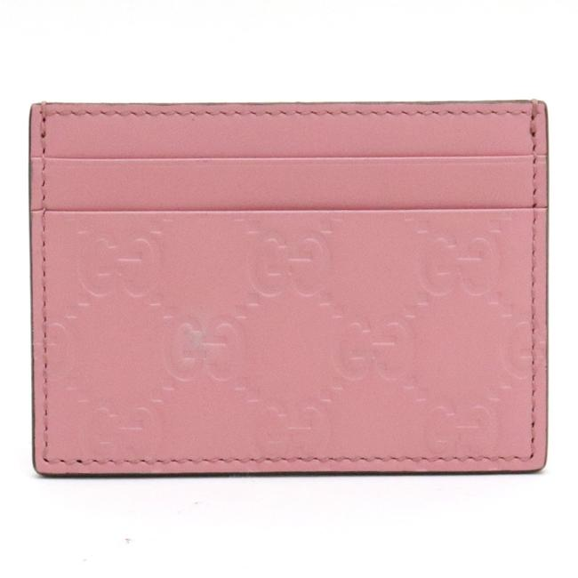 Item - Pink Shima Gg Pattern Card Case Pass Business Holder Leather 233166 Wallet