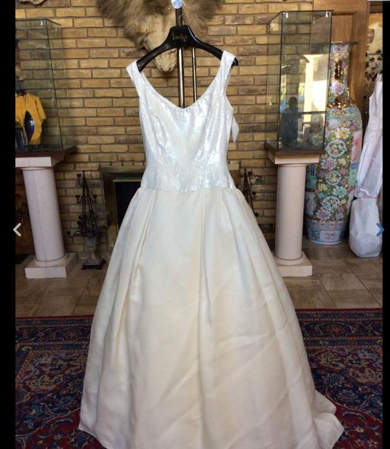 Item - White / Champagne Sequin Style 914 Traditional Wedding Dress Size 6 (S)