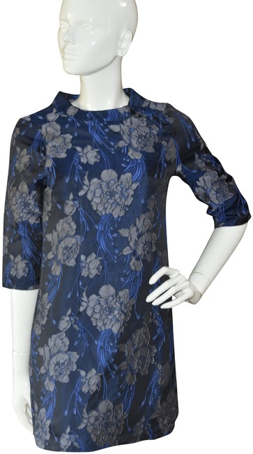 Item - Blue Navy Floral Metallic Brocade Mini Short Night Out Dress Size OS (one size)