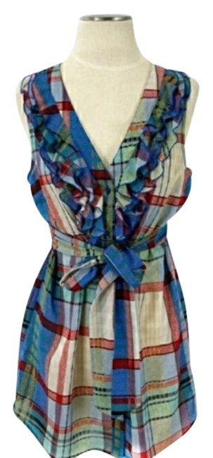 Anthropologie Blue/Red/Green Wrap Dress Tunic Size 6 (S) Anthropologie Blue/Red/Green Wrap Dress Tunic Size 6 (S) Image 1