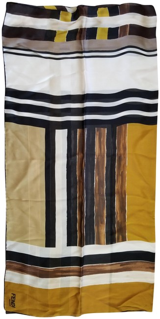Item - Ivory Gold Brown Multicolor Silk Scarf/Wrap