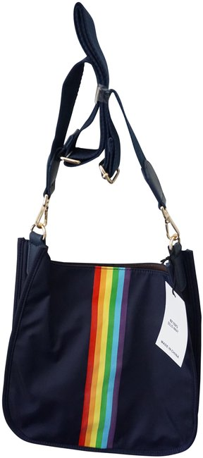 Rainbow Striped New with Tags Navy Blue Neoprene Messenger Bag Rainbow Striped New with Tags Navy Blue Neoprene Messenger Bag Image 1
