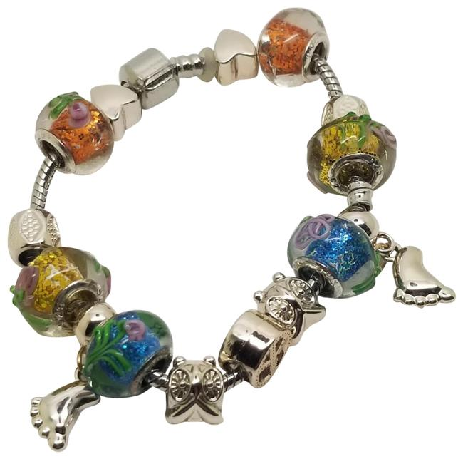 "Item - Multi Color Peace Charm Glass and Silver Tone Beads Snake Chain 7.5"" Bracelet"