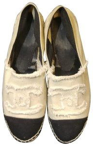 Chanel Jute Sole Canvas Loafers white and black Flats