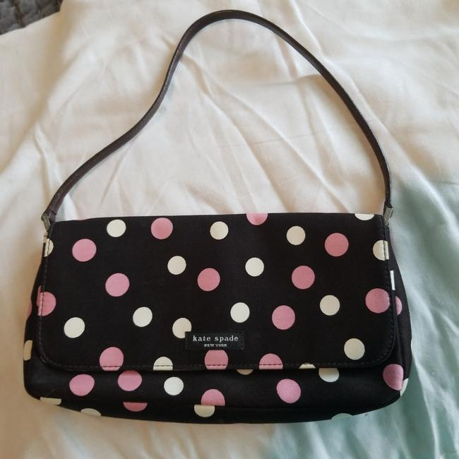 Item - Charlotte Brown/Pink Parker Brown with Pink/White Dots Cotton Blend Baguette
