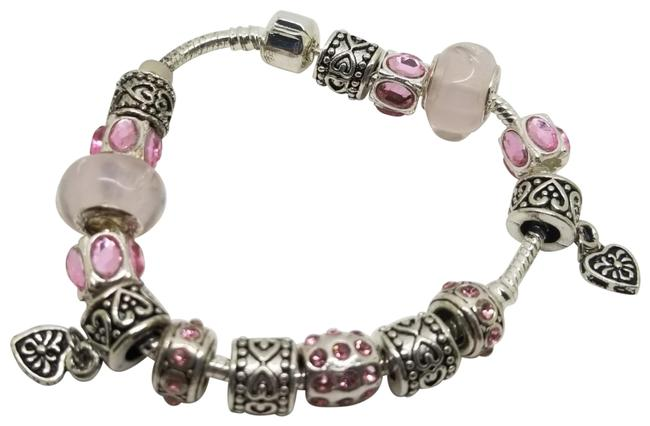 Item - Pink Silver Crystal Heart Murano Add A Charm Locking Clasp Bracelet