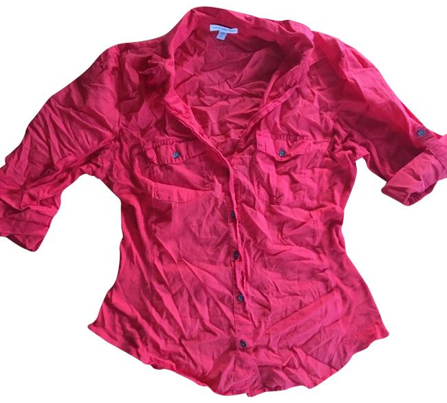 Item - Red Sheer Slub Panel Button-down Top Size 4 (S)