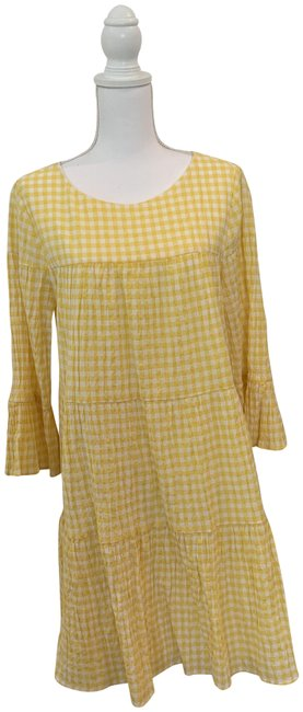Item - Yellow and White Gingham Short Casual Dress Size 14 (L)