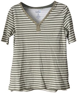 Croft & Barrow New With Tags Metallic Stripe V-neck Woven Trim Vented Tunic