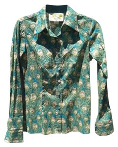 Dittos Vintage Peacock Print Covered Buttons Collar Button Down Shirt green/blue/yellow