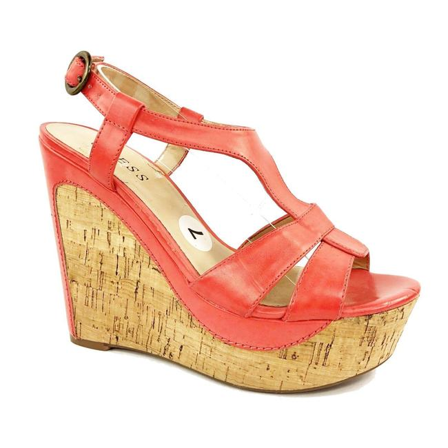 """Item - Coral Sandals Wguna Cork Strappy T Ankle 5.25"""" Hee Wedges Size US 7 Regular (M, B)"""