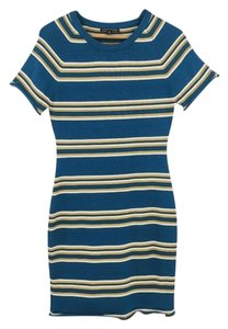 W118 by Walter Baker short dress Blue Fitted Short Striped on Tradesy