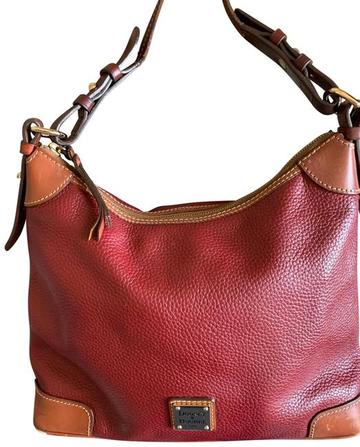 Item - Red Leather and Cotton Inside Hobo Bag