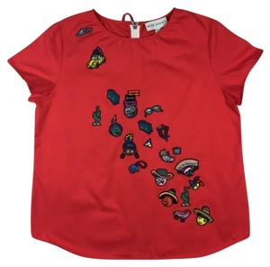 Mira Mikati Patches Summer Vacation Top Red