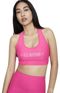 P.E NATION SWISH Sold Out Bright Pink Sports Bra Revolve Neon Spell Out Bandier
