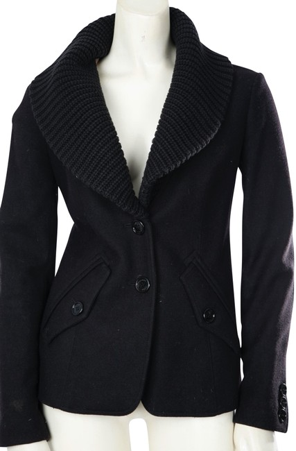 Item - Black Wool Short Collar Coat Jacket Size 2 (XS)