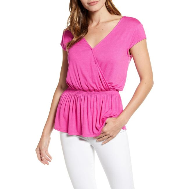 Item - Magenta Jersey Hot Summer Nights Almost Ready Smocked Peplum Blouse Size 16 (XL, Plus 0x)