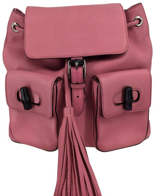 Item - Bamboo Tassel Pink Leather Backpack