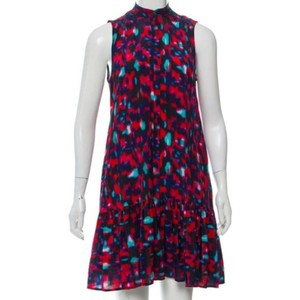 Saloni Silk Ruffle Watercolor Abstract Button Front Dress