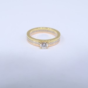 Cartier yellow & white & rose Gold Diamond Engagement Size 51 Ring