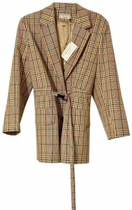 Maison Kitsune Nova Check Plaid Masculine Jacket Brown Blazer