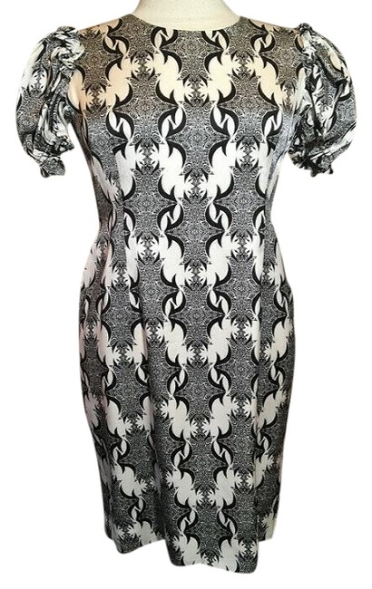 Thom Browne Black and Ivory & White Stretch Satin Sheath Mid-length Short Casual Dress Size 12 (L) Thom Browne Black and Ivory & White Stretch Satin Sheath Mid-length Short Casual Dress Size 12 (L) Image 1