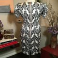 Thom Browne Black and Ivory & White Stretch Satin Sheath Mid-length Short Casual Dress Size 12 (L) Thom Browne Black and Ivory & White Stretch Satin Sheath Mid-length Short Casual Dress Size 12 (L) Image 7