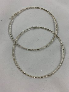 """Lexico Fashion 3.25"""" Silver ribbed hook hoops"""