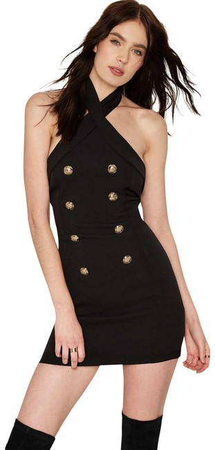 Item - Black New Double Breasted Button Detail Tuxedo Halter Short Cocktail Dress Size 4 (S)