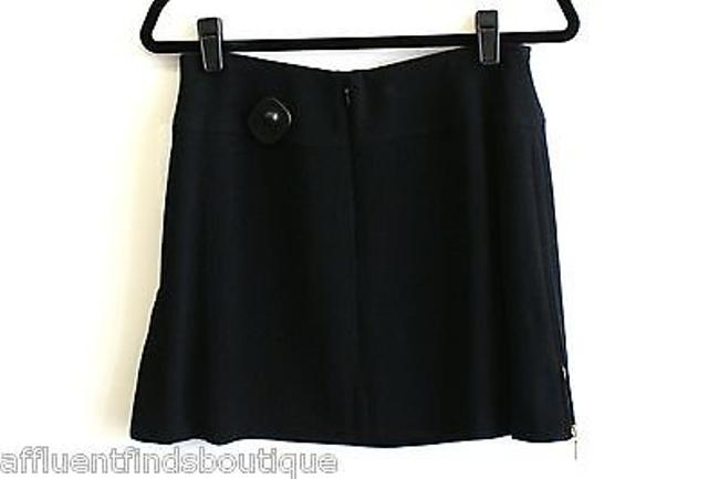 Chanel 95p Wool With Gold Side Zippers Or 46 Mini Skirt Blacks