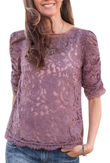 Item - Purple Poetry Sheer Lace Ruched Elbow-length S Blouse Size 6 (S)