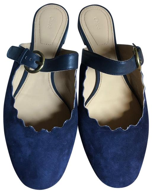 Chloé Navy Jane 'lauren' Scalloped Suede Mary Mules/Slides Size EU 39 (Approx. US 9) Regular (M, B) Chloé Navy Jane 'lauren' Scalloped Suede Mary Mules/Slides Size EU 39 (Approx. US 9) Regular (M, B) Image 1