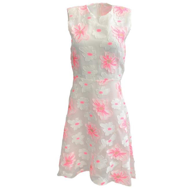 Item - White / Pink Sleeveless Applique Flowers Short Cocktail Dress Size 4 (S)