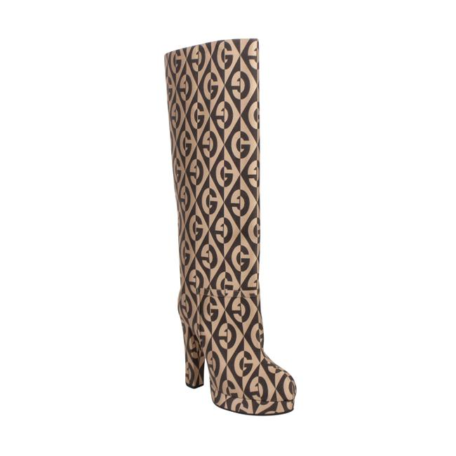 Item - Brown and Beige Mini Diamonds Knee High Boots/Booties Size EU 38.5 (Approx. US 8.5) Regular (M, B)