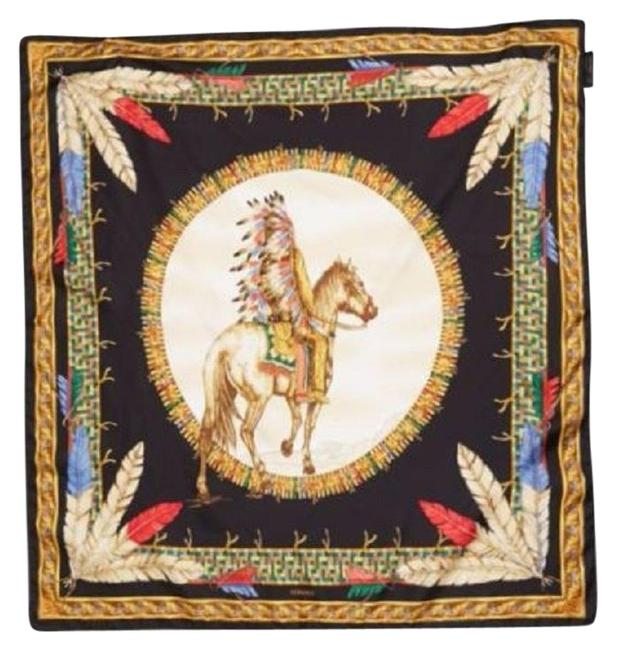 Versace Black/Gold Tribal Chief On Horse Foulard Ifo9r01 It00905 I7910 Scarf/Wrap Versace Black/Gold Tribal Chief On Horse Foulard Ifo9r01 It00905 I7910 Scarf/Wrap Image 1