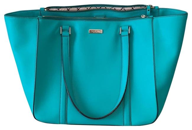 Kate Spade Tote Teal Green Coated Canvas Shoulder Bag Kate Spade Tote Teal Green Coated Canvas Shoulder Bag Image 1