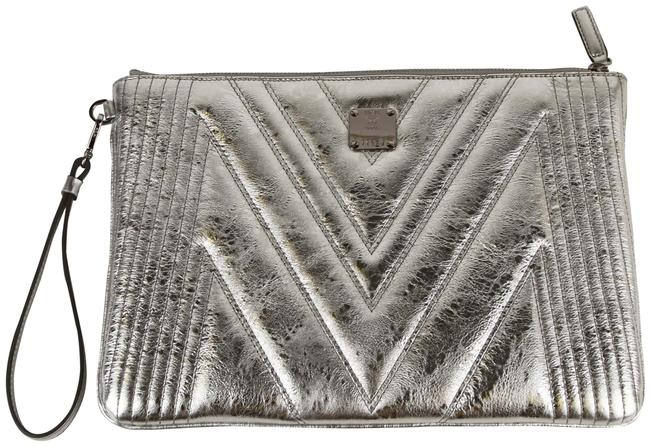 MCM Metallic Quilted Wristlet Zip Pouch Myz9spa25sa001 Silver Leather Clutch MCM Metallic Quilted Wristlet Zip Pouch Myz9spa25sa001 Silver Leather Clutch Image 1