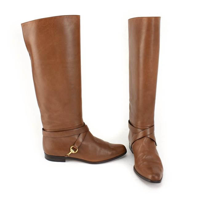 "Item - Brown Horsebit Leather Gold ""Horsebit"" Tall Boots/Booties Size EU 37 (Approx. US 7) Wide (C, D)"