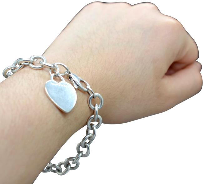Tiffany & Co. Silver 925 Sterling Blank Engravable Heart Tag Classic Roundlink Chain Bracelet Tiffany & Co. Silver 925 Sterling Blank Engravable Heart Tag Classic Roundlink Chain Bracelet Image 1