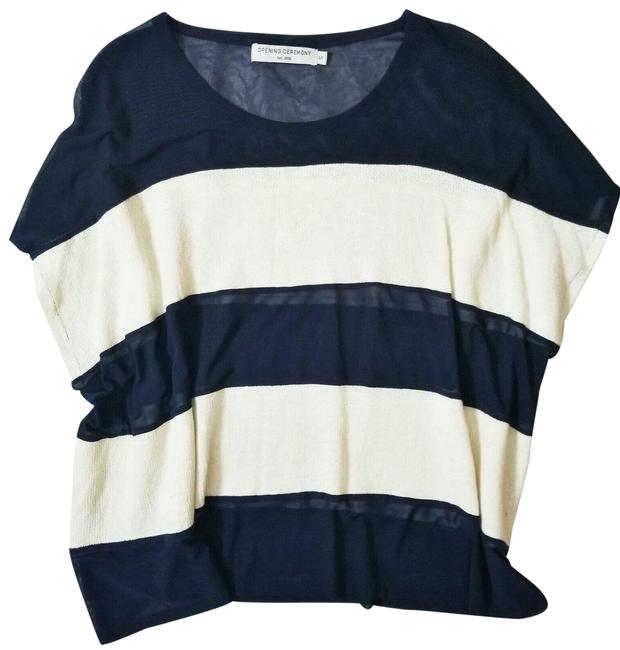 Item - Navy Blue Linen Blend Nautical Striped Dolman Tunic Size 6 (S)
