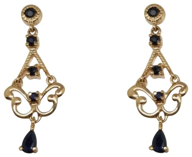 Item - Blue and 1 Cttw Pear Round Sapphires Drop Dangle Chandelier Earrings