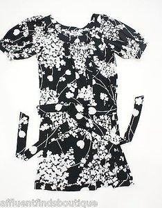 Tibi short dress Black/White York Floral Silk on Tradesy