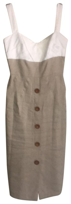 Item - Beige and White Linen Blend Sleeveless Mid-length Short Casual Dress Size 2 (XS)