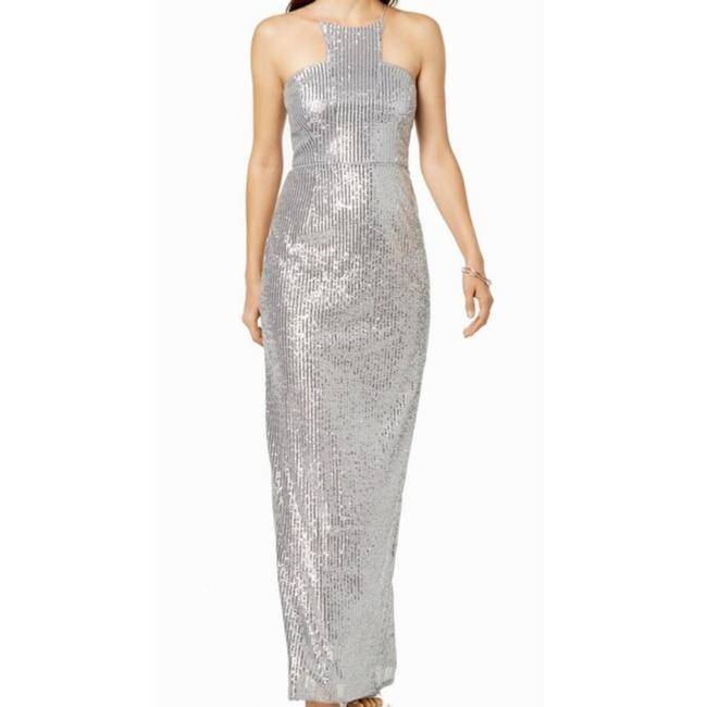 Item - Silver Sequin Gown Long Night Out Dress Size 6 (S)