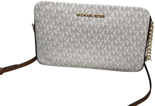 Michael Kors Mk Jet Set Large Ew Saffiano Vanilla Leather Cross Body Bag Michael Kors Mk Jet Set Large Ew Saffiano Vanilla Leather Cross Body Bag Image 1